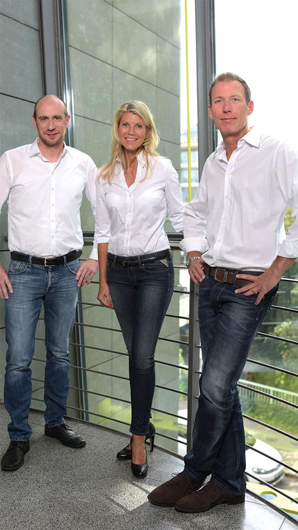 Das Managementteam Fabian Wolff (Creative Director), Daniela Seidl und Wolfgang Seidl (v.l.)